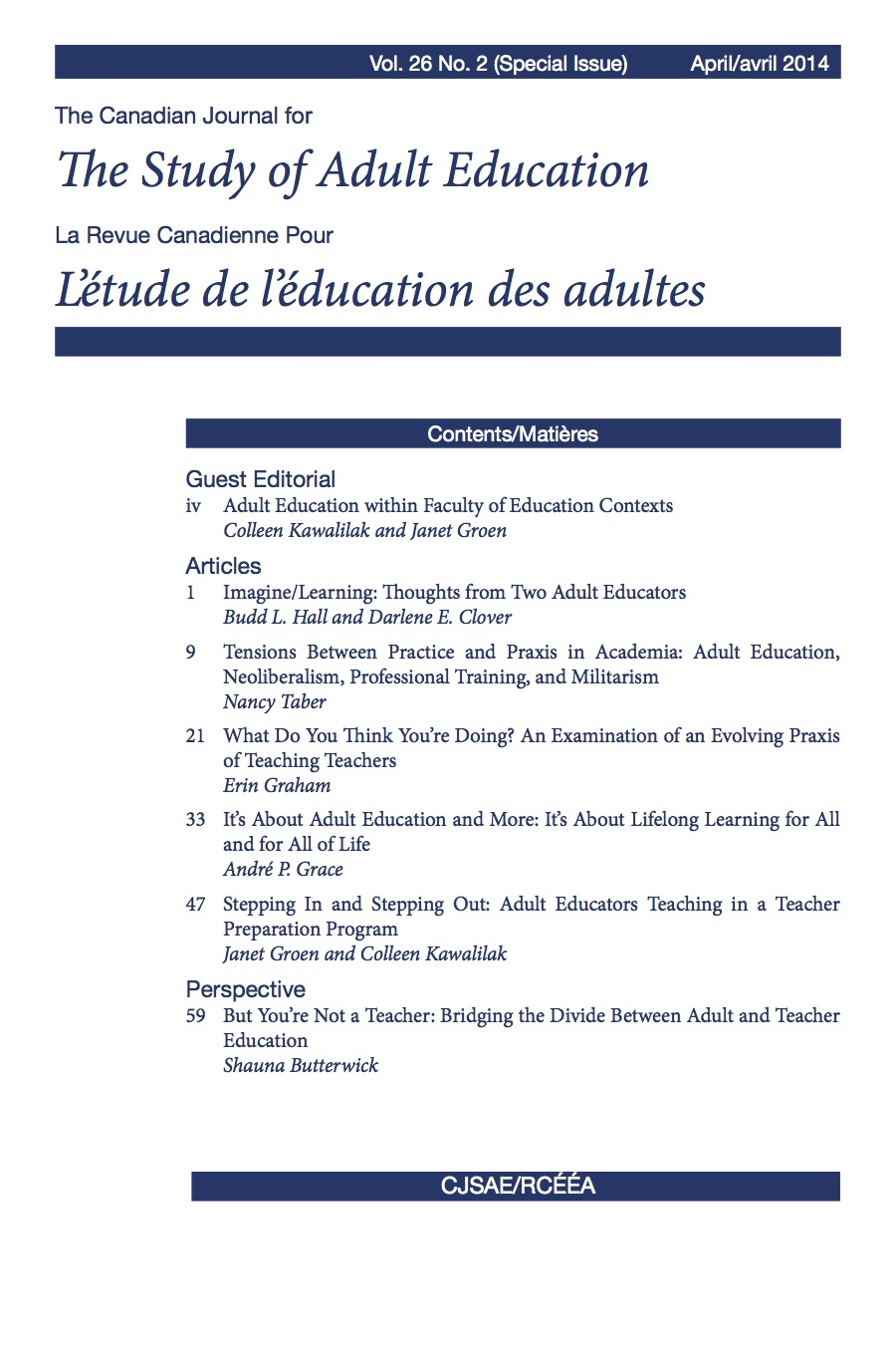 CJSAE/RCÉÉA Volume 26 Issue 2 (Special Issue