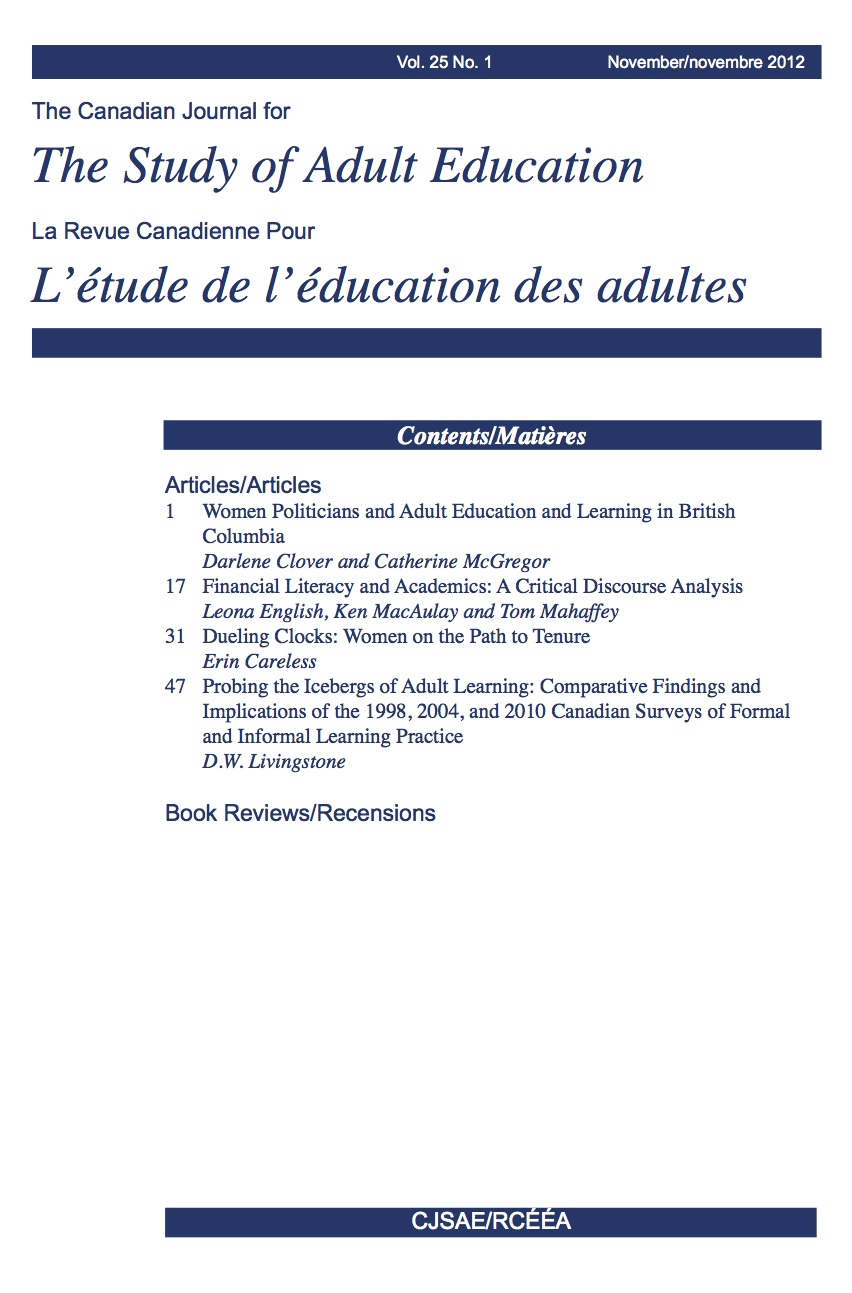 CJSAE/RCÉÉA Volume 25, Issue 1