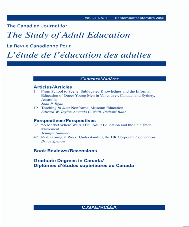 View Vol. 21 No. 2 (2009): Adult Education in Troubling Times
